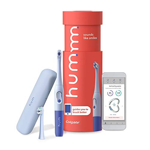 Colgate hum Smart Battery Toothbrush Kit with Travel Case and Replacement Head, Blue