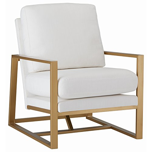 Rivet Charlotte Modern Brass Accent Chair, Natural