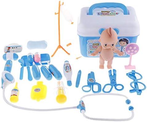 キッズドクターナースのおもちゃセット人形用品おもちゃでふりプレイ薬箱 - ブルー