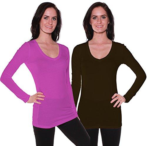 Active Basic Women's Basic Long Sleeve V-Neck Tee t Shirts- 2 Pack Deal