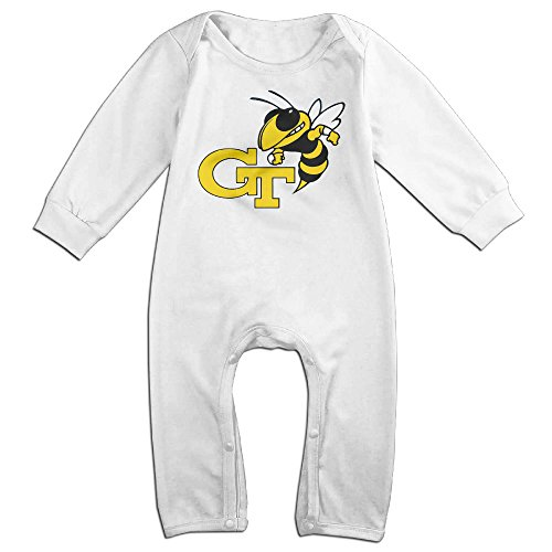 HOHOE Babys Georgia CT Tech Long Sleeve Romper Bodysuit Outfits White 6 M (Starbucks Coffee Costume)