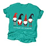Eoeth Women Christmas Print Short Sleeves O-Neck Loose T-Shirt Blouse Tops Pullover Sportswear Merry Christmas Mint Green