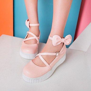 Cómodo y elegante soporte de zapatos de las mujeres pisos primavera verano otoño Creepers Casual de cuero sintético enredaderas Bowknot hebilla negro rosa blanco rosa