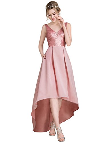 Ausschnitt V Prinzessin Kleid Erosebridal Sequined Ballkeid Satin Brautjungfer qP1zwC5