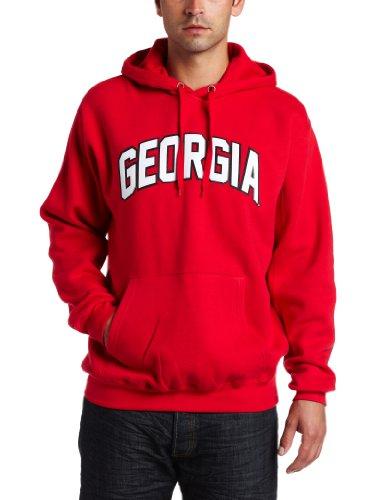 NCAA Mens Georgia Bulldogs Gameday Battle Athletic Red Long Sleeve Hooded Fleece Pullover By Majestic (Athletic Red, X-Large) (Majestic Athletic Hooded Fleece)