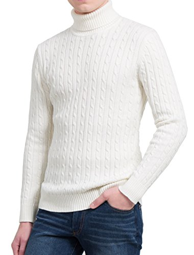 Off Men White Sweater Knitted uxcell Allegra Cable K Pullover Sleeves Long Turtleneck qCOvAxwT