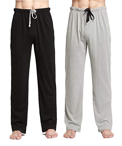 CYZ Comfortable Jersey Cotton Knit Pajama Lounge Sleep Pants-BlackGreyMelange2PK-M
