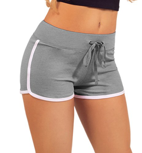Women's Active Fitted Jersey Trim Adjustable Drawstring Mini Shorts , Heather gray , Medium by HOT FROM HOLLYWOOD