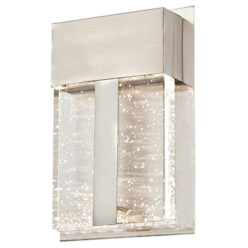 Bagood One-Light LED Outdoor Wall Fixture, Brushed Nickel Finish with Bubble Glass, 1 ()