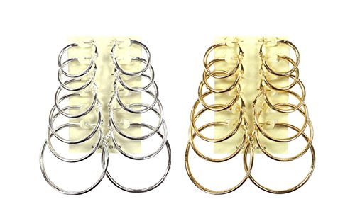 Hoop Earring Set 6 to 12 Pair; 1, 1.2, 1.4, 1.6, 1.8, 2 inches (6 Silver and 6 Gold Wide Round Edge)