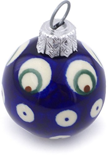 Polish Pottery 2-inch Ornament Christmas Ball (Peacock Eyes Theme) + Certificate of Authenticity (Peacock Ball Ornament)