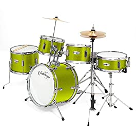 Ashthorpe 5-Piece Complete Kid's Junior Drum Set with Genuine Brass Cymbals – Children's Professional Kit with 16″ Bass Drum, Adjustable Throne, Cymbals, Hi-Hats, Pedals & Drumsticks – Green