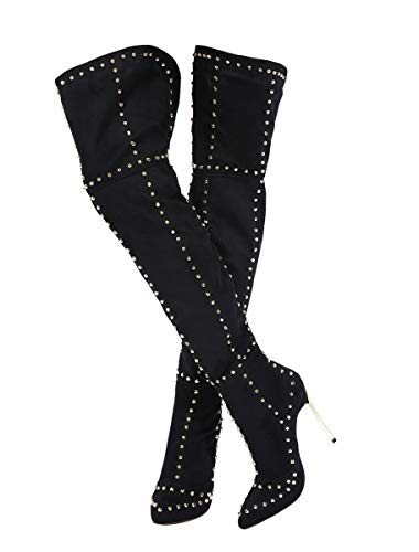 Stupmary Women's Thigh High Over The Knee Boots Studded Stilleo Heels Pointed Toe Rivets Winter Bootie Black (Studded Knee High Boots)