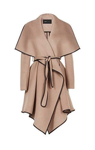 Bcbgeneration Woman's Cameron Taupe Wool Leather Trim Wrapped Belted Trench Coat (XS)