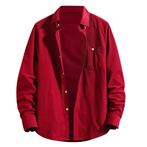 Forthery Men's Button Down Plaid Flannel Shirt Long Sleeve Casual Tops Jacket(US Size L = Tag XL,Red)