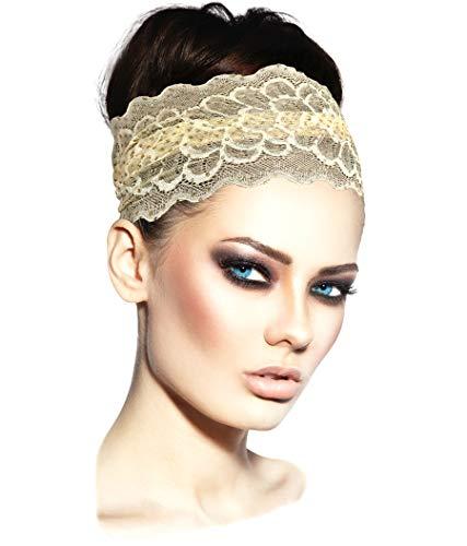 ShariRose Stunning Vintage Floral Lace Headbands Handmade (Cream Gold - Lace Cream Gold
