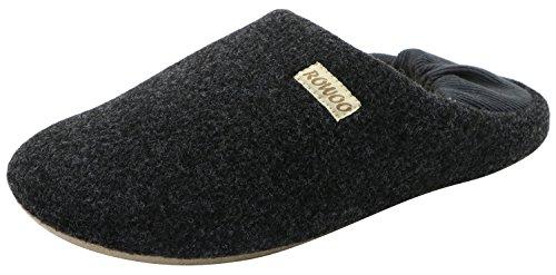 Rowoo Unisex Winter Flat Home Instapper Ontwerp Met Zachte Warme Wollen Voering Muilezel Pantoffels Zwart Grijs