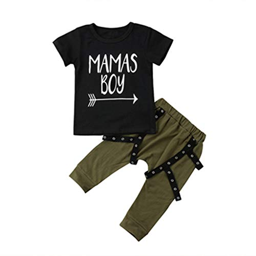 Cute Toddler Kids Boy Clothing Set Short Sleeve T-Shirt Tops+Long Pant Trouser 2PCS Outfit Kids Clothes as picture53 24M ()