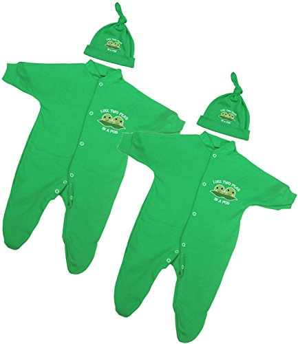 BabyPrem Baby Twins 2 Footie & Hat Sets Clothes Peas in a Pod Newborn (Two Peas In A Pod Saying)