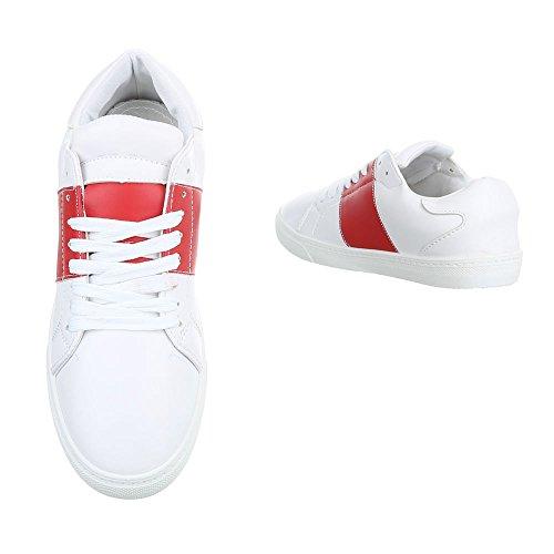 Ital-Design Sportschuhe Damenschuhe Geschlossen Sneakers Schnürsenkel Freizeitschuhe Weiß Rot T207P