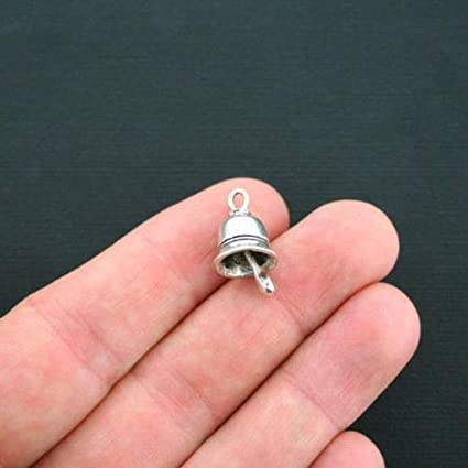 SC4708 2 Bell Charms Antique Silver Tone 3D