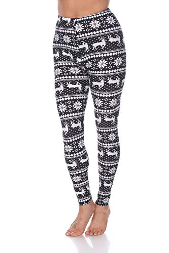 White Mark Women's Holiday Reindeer & Snowflake Printed Leggings in Black & White - Plus Size from White Mark