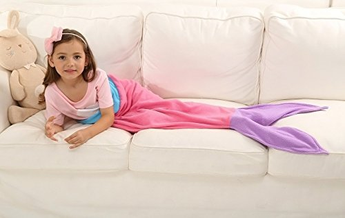 Ibestuff Luxury Mermaid Tail Blanket Soft Polar Fleece Children Sleeping Bags Gift for Kids(Pink)