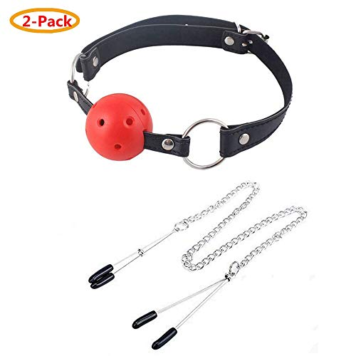 Massage Metal Adjustable Clips & Open Breathable Leather Ball (Red)