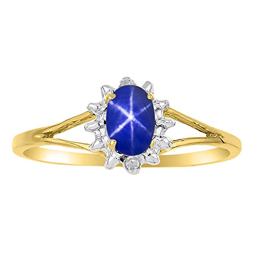 Diamond & Blue Star Sapphire Ring Sterling Silver or 14K Yellow Gold Plated Silver