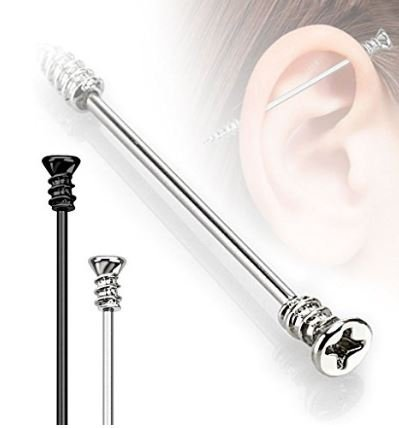 Surgical Steel DIY In and Out Screw Industrial Scaffolding Bar Piercing Thickness : 1.2mm Length : 38mm Material : Surgical Steel (Diy Scaffolding)