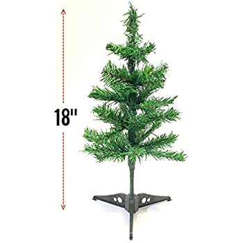 Artificial Christmas Tree Holiday Tabletop Desk Counter-top Home Office Reception Desk School Shop Store Kids Room, Dorm - With Detachable Base Total Length 18''