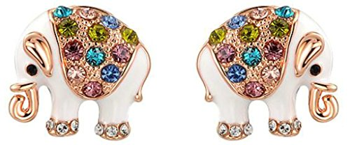 18k Gold Plated Earring, Women's Stud Earrings Elephant Rose Gold Epinki