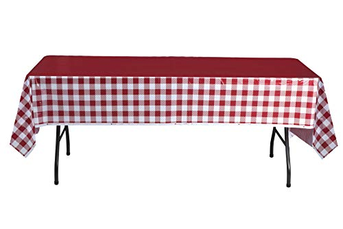 Red and White Checkered Tablecloths - Gingham Table Cover Ideal for Picnic Parties, Family Dinner and Birthday Parties (4 Pack)