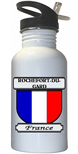 rochefort-du-gard-france-city-white-stainless-steel-water-bottle-straw-top