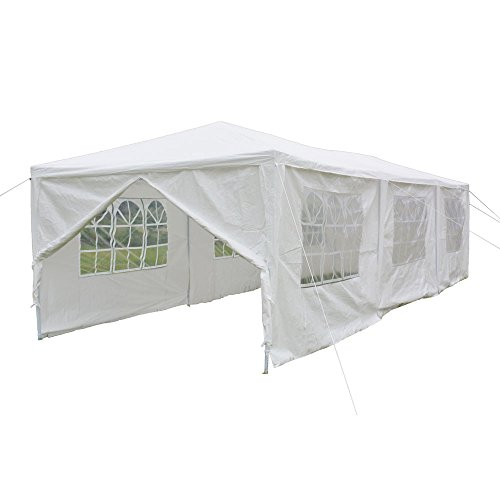 Crazyworld 10' x 30' Outdoor Canopy Wedding Party Tent with 8 Removable Sidewalls and Zippered Door,Upgraded Thicken Tube Size Sun Shelter SHED Gazebo Pavilion Garden Pool Event