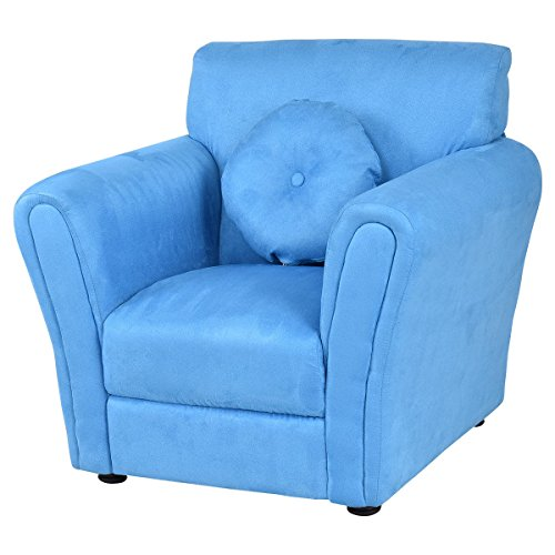 Blue wood and sponge Kid Armchair With Ebook by MRT SUPPLY