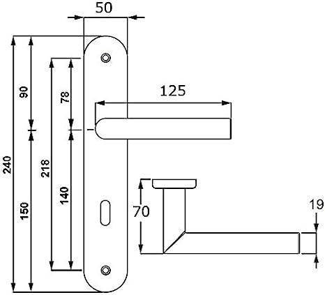 Edelstahl T/ürbeschlag TA-1206 Langschild PZ Renovierung T/ürgriffe T/ürklinke