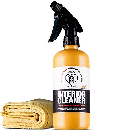 Shine Society Interior Cleaner, 100% All-Natural Extra Strength Formula, for Use On Fabric, Vinyl, Leather, Plastic, and All Other Interior Surfaces, Microfiber Towel Included (18 oz.)