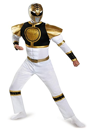 [White Power Ranger Muscle Men Costume] (White Ranger Adult Costumes)