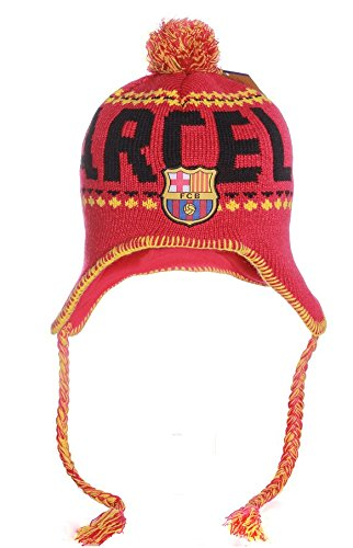 FC バルセロナ Barca Gorro o Gorra ポンポン付きペルービーニーニット帽 One Size ブルーレッド B00HK2ON5O