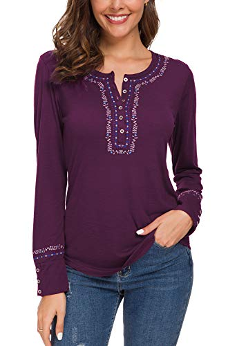 - Urban CoCo Women's Long Sleeve Boho Shirt Embroidered Top (XL, Grape Purple)