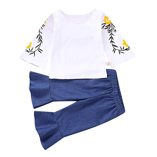 - 2PCS Toddler Baby Girls Floral Long Sleeve Top Shirt+Loose Pants Jeans Casual Clothing Set (White Top+Jeans, 12-18 Months)