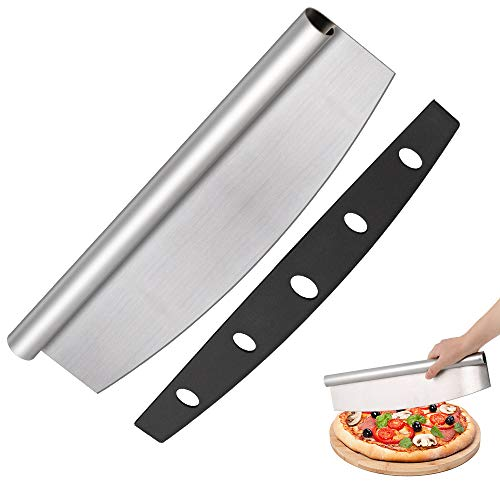 14' Wheel Cut Off (NEX 14'' Pizza Cutter- Sharp Rocker Blade Style- Stainless Steel with Protective Cover)