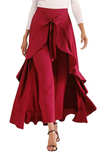 81c040cb8 Aivtalk Breathable Chiffon Skirt for Women High Waist Ruffle Long Pants  Daily Solid Loose Palazzo Pant Skirt Wine-Red X-Large