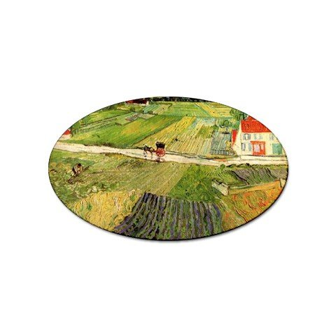 Landscape with Carriage and Train in the Background By Vincent Van Gogh Oval Sticker (Carriage Train)