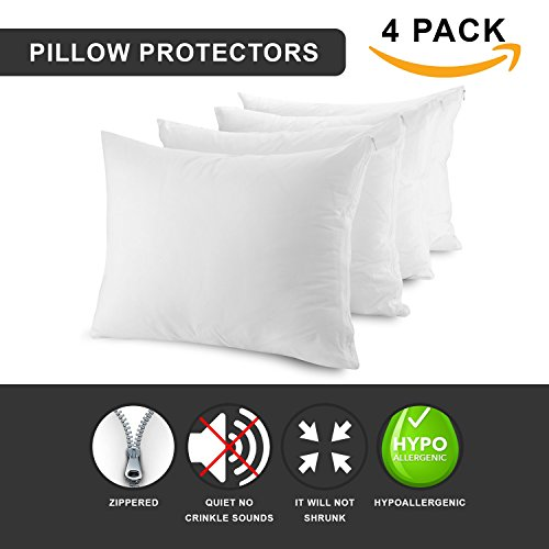 MASTERTEX Zippered Pillow Protectors Hypoallergenic Poly Cotton Breathable Pillow Covers (4 Pack) Soft and Quiet Pillow Encasement Dust Mite Control (Set of 4 - King - White)