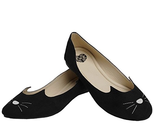 T.U.K. Shoes Womens Black Sophistakitty Flats Black