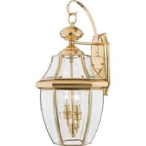 Quoizel NY8317B Newbury 2-Light Outdoor Wall Lantern, Polished Brass