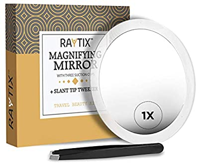 Raytix Magnifying Mirror & Slant Tweezers Makeup Application & Eyebrow Removal Essentials   Round Mirror With 3 Suction Cups & Stainless Steel Slant Tip Tweezer For Daily Beauty Routine 6 Inch
