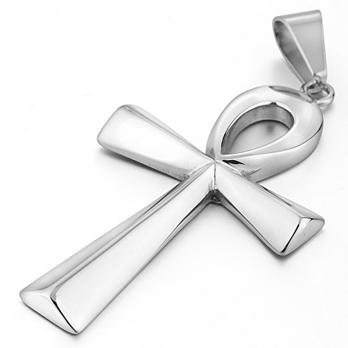 MENDINO Egyptian Ankh Cross Stainless Steel Pendant Necklace Mens Womens With 22 inch (Ankh Egyptian Cross)